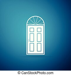 azul, apartamento, porta, isolado, ilustração, experiência., vetorial, fechado, ícone, design.