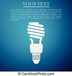 azul, apartamento, poupar, luz, energia, isolado, ilustração, experiência., vetorial, bulbo, ícone, design.