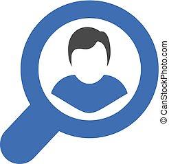 azul, apartamento, procurar, ícone