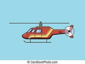azul, apartamento, salvamento, aircraft., isolado, experiência., vetorial, helicóptero, chopper, vermelho, illustration.