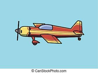 azul, apartamento, single-engine, illustration., aeronave, isolado, avião., vetorial, fundo, pistão