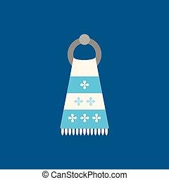 azul, apartamento, toalha, illustration., experiência., vetorial, ícone