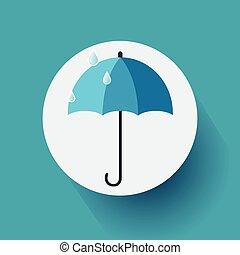 azul, apartamento, vetorial, guarda-chuva, ilustração, experiência., desenho, eps10, ícone