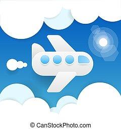 azul, apartamento, viagem, voando, céu, avião, clouds., papel, experiência., vetorial, icons., cutout