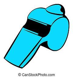 azul, apito, ícone, caricatura, ícone