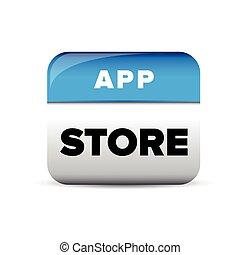 azul, app, vector, botón, tienda