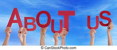 azul, aproximadamente, palavra, pessoas, céu, nós, segurar passa, vermelho