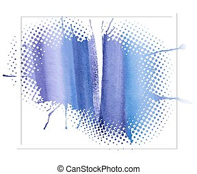 azul, aquarela, abstratos, fundo