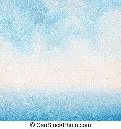 azul, aquarela, abstratos, pintado