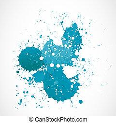 azul, aquarela, abstratos, respingo