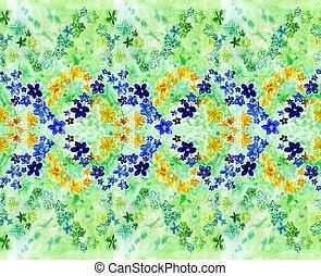 azul, aquarela, amarela, verde escuro, fundo, flores