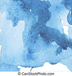 azul, aquarela, fundo, manchas