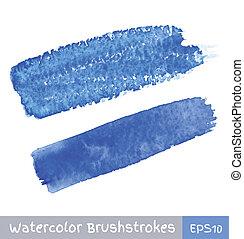azul, aquarela, golpes, escova