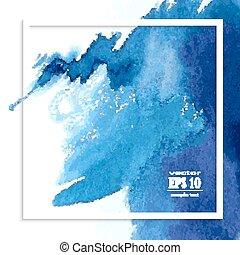 azul, aquarela, mancha