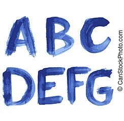 azul, aquarela, manuscrito, alfabeto