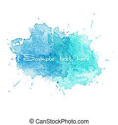 azul, aquarela, vetorial, splatters.