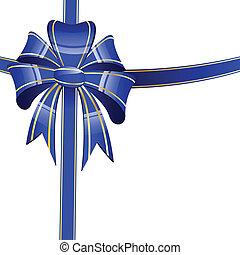 azul, arco, en, un, fondo blanco
