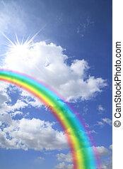 azul, arco irirs, nube de cielo