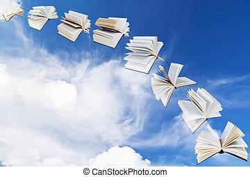 azul, arco, voando, céu, livros