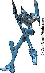 azul, arma, ilustração, robô, experiência., vetorial, branca