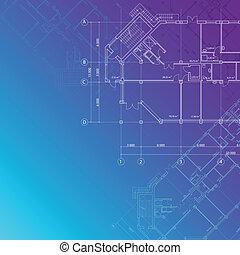 azul, arquitectónico, plano de fondo