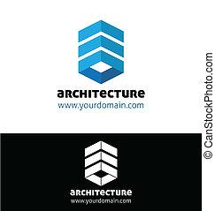 azul, arquitectura, logotipo, plantilla