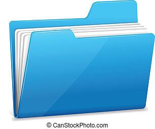 azul, arquivador, com, documentos