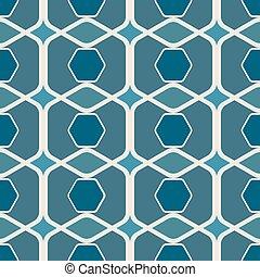 azul, arredondado, abstratos, seamless, hexágonos, experiência., vetorial