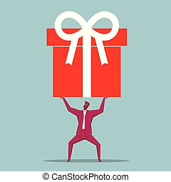 azul, arriba, asideros, aislado, gift., fondo., hombre de negocios