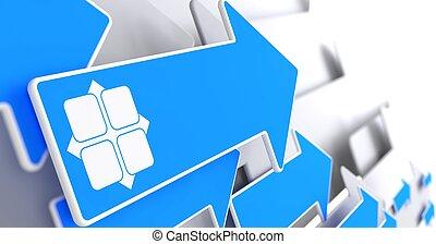 azul, arrow., y-axis, ícone