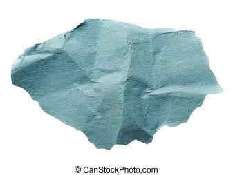 azul, arrugado, pedazo, papel