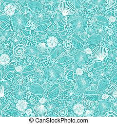 azul, arte, patrón, seamless, plano de fondo, conchas...