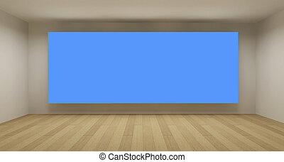 azul, arte, sala, espaço, conceito, fundo, chroma, tecla, limpo, vazio, 3d