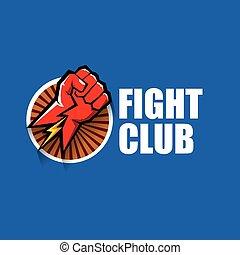 azul, artes, puño, fondo., club, aislado, pelea, marcial, vector, diseño, plantilla, mezclado, logotipo, mma, rojo, hombre
