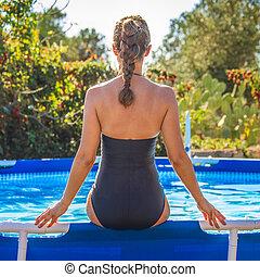 azul, assento mulher, swimsuit, ativo, piscina, natação