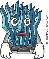 azul, asustado, agua, alga, mar, debajo, caricatura