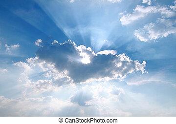 azul, através, neblina, céu, raio sol