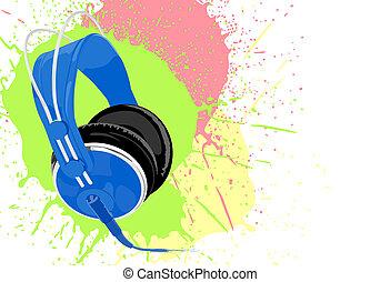 azul, auriculares