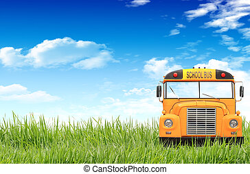 azul, autocarro escolar, céu, capim, verde