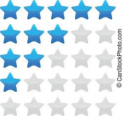 azul, avaliação, estrela