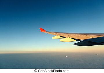 azul, avión, ala, sky.