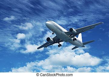 azul, avión pasajero, cielo, aire