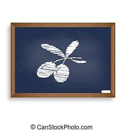azul, azeitonas, illustration., escola, sinal, junta giz, branca, ícone