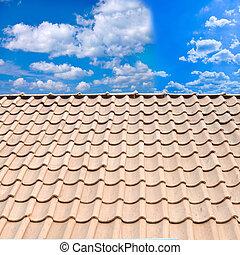 azul, azulejo, cielo, techo, contra