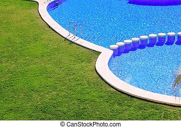 azul, azulejos, jardim, grama verde, piscina, natação