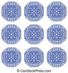 azul, azulejos, marroquino, colors., ornamentos, branca
