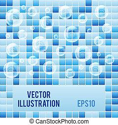 azul, azulejos, spa., textura, fundo, pequeno, mosaico