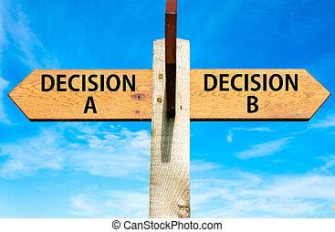 azul, b, céu, oposta, madeira, signpost, sobre, setas, dois, escolha, claro, direita, mensagens, conceitual, decisão, imagem