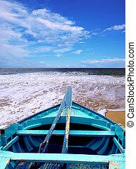 azul, b, canoa