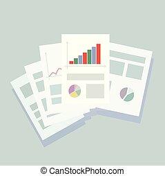 azul, b, escritório, negócio, luz, papel, folhas, composição